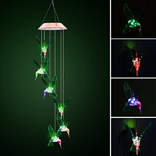 Color-Changing LED Solar Mobile Wind Chime, ALLOMN Solar Powered LED Night Light Waterproof Six Hummingbird Wind Chimes for Outdoor Garden Party Christmas Decoration