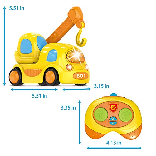FUN LITTLE TOYS Remote Control Cartoon Construction Car Toy Set for Boys, 5 Pack RC Min Construction Vehicles with Light & Sound for Toddlers,