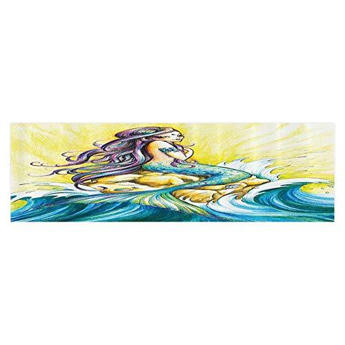Philip C. Williams Decorative Aquarium Background Mermaid Sitting Rock Sunny Colored Pencil Drawing Effect Bathroom PVC Aquarium Decorative Paper 29.5