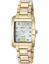 Womens Diamond Solar Quartz Gold-Tone-Stainless-Steel Casual Watch,