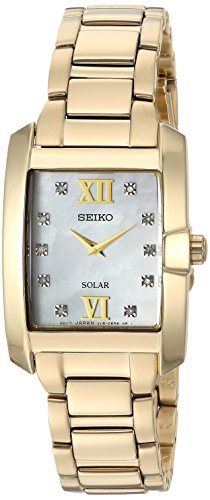 Seiko Women's 'DIAMOND SOLAR' Quartz and Stainless-Steel Casual Watch, Color:Gold-Toned (Model: SUP378) (Gold Steel Toned Stainless Seiko Womens Watch)