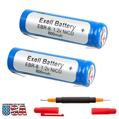 2x Exell 1.2V Razor Battery For Norelco RonsonWindmereBraun Razors Braun Types: 5556 5561 5563 Braun Models: 2500 2501 2505 2514 2515 2520 2525 2530 Norelco 600RX Ronson RFS-3 Windmere RFS3 RAZOR-8
