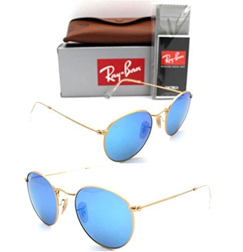 9e51fef0f9 Ray-Ban Round RB 3447 112 4L 50mm Matte Gold Frame   Blue - Import It All