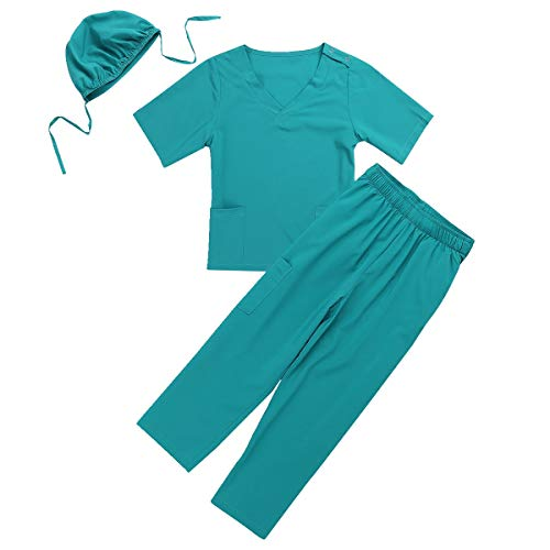 dPois Unisex Boys Girls' Little Doctors Nurses Surgeon Outfit with Surgical Cap 3PCS Set Halloween Cosplay Dress Up Green 7-8 -