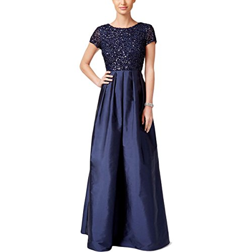 Adrianna Papell Taffeta Skirt (Adrianna Papell Women's Beaded Bodice Dress with Taffeta Gown and Cap Sleeves, Navy, 4)