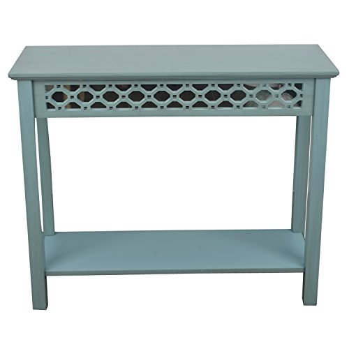 Blue Console - Décor Therapy Mirrored Console Table, Antique Iced Blue