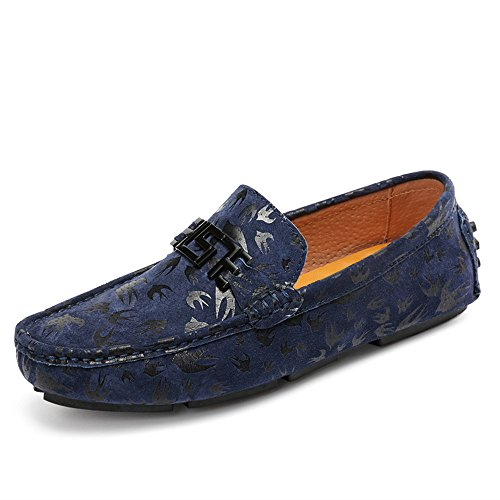 Men's Driving Loafers Printing Genuine Leather Vamp Lovers Boat Moccasins Soft Sole Cricket Shoes Navy VU0h43XuP