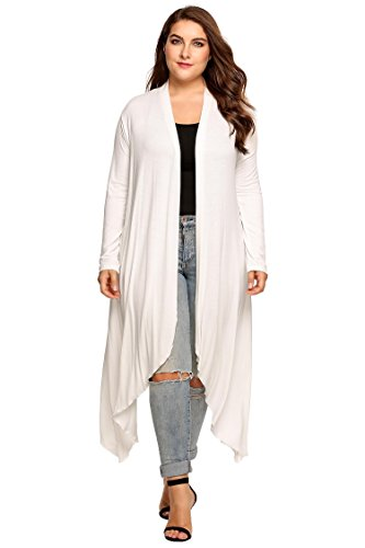g Sleeve Dressy Longline Asymmetrical Maxi Cardigan Sweaters for Women(White,XL) (Knee Length Sweater)