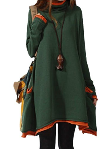 - Medeshe Women's Long Sleeved Cotton Knitted Sweater Pull Over Dress US 10/12 (Green)