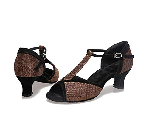 Brown Comfort Shoes Shoes Latin Heel Chunky Dance Women's Colorful Ballroom CHENYANG Z5qwv7O