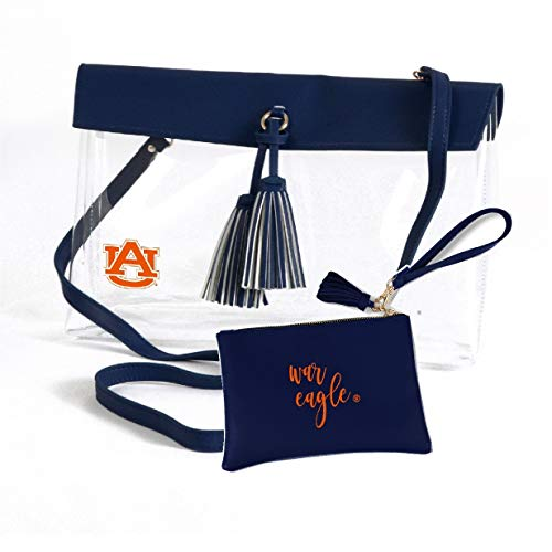 Desden Auburn Tigers Clear Handbag and Wristlet Combo with Logo, Vegan Leather Trim and Tassels