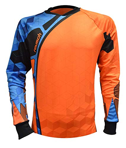 Reusch Soccer Sentinel Pro-Fit Long Sleeve Goalkeeper Jersey, Orange/Blue, Youth Large ()