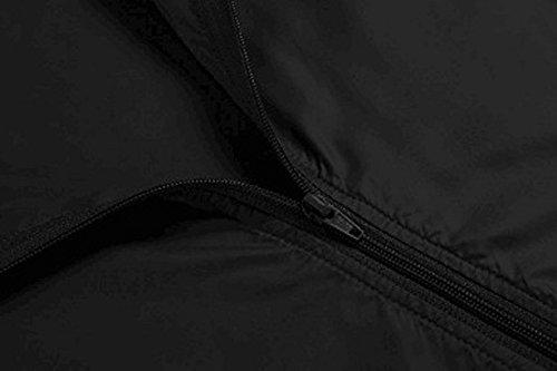 Donna Da Con Cappuccio Esterno Nero Impermeabile Moda Leggera Giacca Alla Antipioggia O50q1dOS