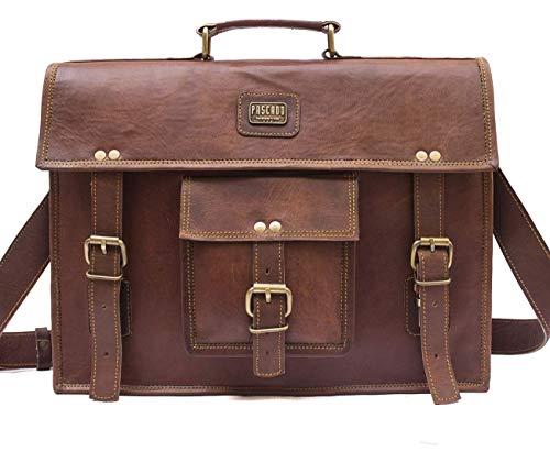 Pascado 15 inch brown leather messenger laptop briefcase shoulder satchel bag mens womens brown