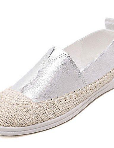 5 ZQ cn39 uk5 Zapatos Blanco eu38 white Mocasines eu39 cn39 silver Tacón us8 de Punta Plata Casual cn38 Redonda 5 us8 Plano mujer uk6 uk6 silver Semicuero gyht us7 eu39 rrpBxwf