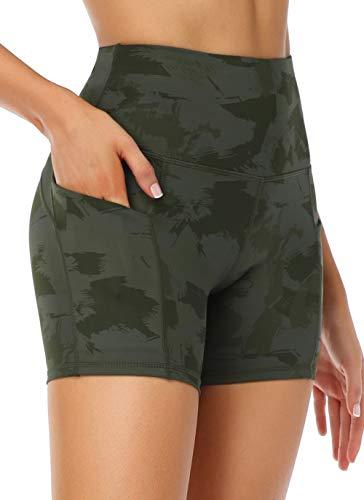 """Oalka Women's Short Yoga Side Pockets High Waist Workout Running Sports Shorts 4"""""""