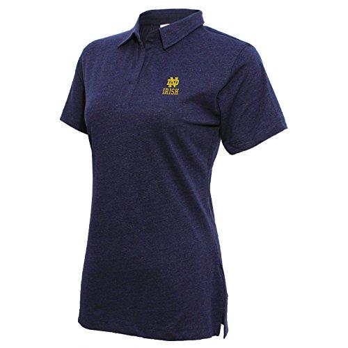 NCAA Notre Dame Fighting Irish Women's Campus Specialties Cap sleeve Jersey Polo, Large, Heather Blue