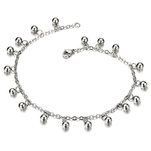 Stainless Steel Anklet Bracelet with Dangling Charms of Balls by COOLSTEELANDBEYOND
