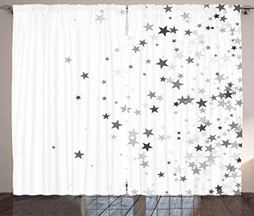 Red Vow Stars Curtains, Falling Stars Pattern Greyscale Composition Celebration Party Inspired Design, Curtain for Bedroom Dining Living Room 2 Panel Set, 104 W by 96 L, Grey Pale Grey