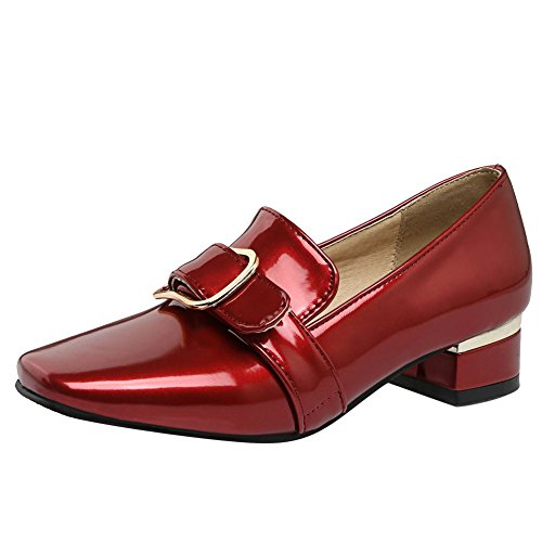 Mee Shoes Damen Blockabsatz Chunky Heels Vierkant Pumps Rot