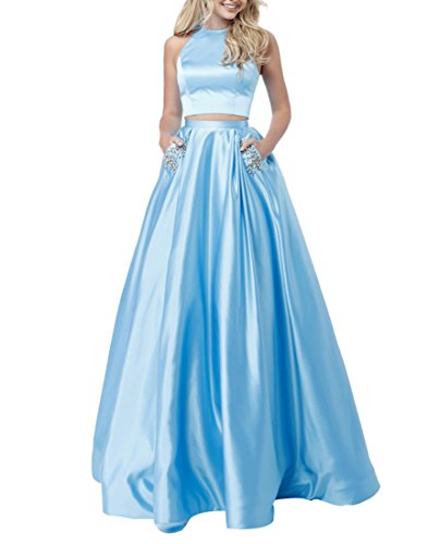 2 Piece Satin Dress (Zhongde Women's Two Pieces Long Satin Prom Dresses Evening Party Gown With Pocket Crystals Baby Blue Size 10)