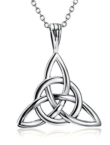 Sterling Silver Good Luck Necklace 18 inch | Continuity of life Celtic Knot Pendant Necklace Great Gift ()