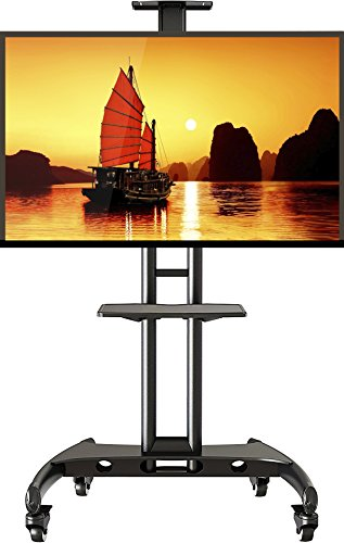 Lcd Flat Panel Monitor Stand (Universal Mobile TV Cart TV Stand with Mount for LED LCD Flat Panel Screens 32 to 65-inch up to 100 lbs Black with AV Shelf)