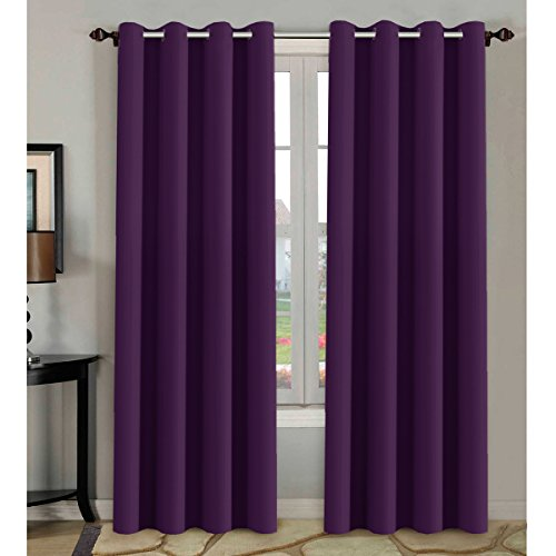 Curtains Eggplant (H.VERSAILTEX Blackout Room Darkening Curtains Window Panel Drapes - (Plum Purple Color) 2 Panels, 52 inch Wide by 84 inch Long Each Panel, 8 Grommets/Rings per Panel)