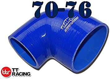 76mm 2.25-3 AUE90-57-76BK 4 Ply Silicone 90 Degree Reducer Elbow Joiner Turbo Hose 57mm