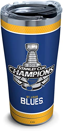 Tervis NHL St. Louis Blues 2019 Stanley Cup Champions Stainless Steel Insulated Tumbler with Clear & Black Hammer Lid, 20 oz, Silver (Wall Champion Cup)