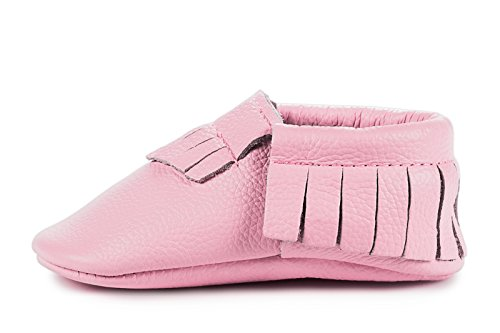 BirdRock Baby Moccasins - Premium Soft Sole Genuine Leather Pink Baby Shoes For Newborn & Infant Girls (Medium | 12-18 Months | US 5.5, Light (Baby Pink Leather)