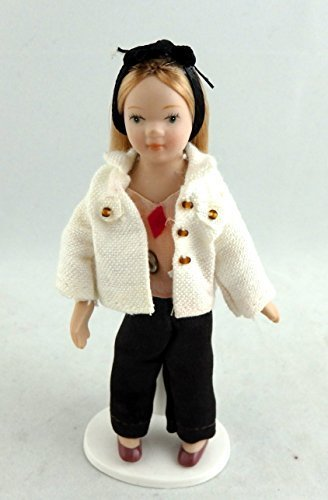 Porcelain Girl Doll - Melody Jane Dolls Houses House Miniature 1:12 Scale Figure Porcelain People Young Girl Modern Child