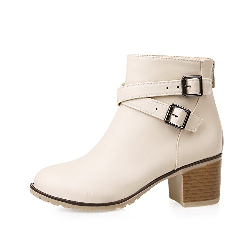 Top Zipper Beige Heels Pu Women's Low Solid AmoonyFashion Boots Kitten nUt6xPww