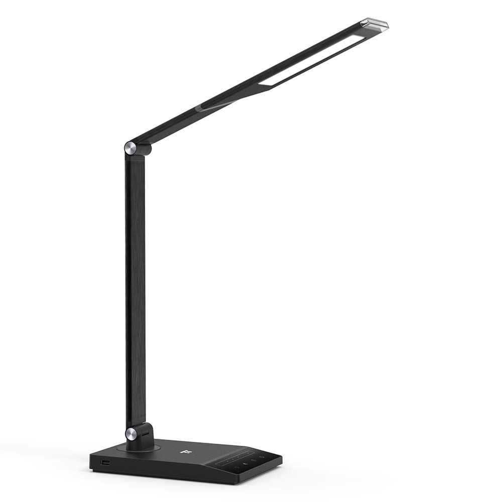 TaoTronics TT-DL048 LED Desk Lamp, Office Lamp with 1000 Lux Bright Yet Eye-Caring LED Panel and 5 Color Modes, USB Port, 1-Hour Auto-Timer and Nightlight Function
