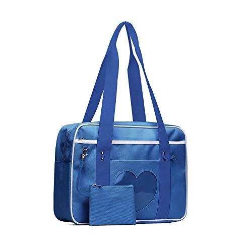 SteamedBun Ita Bag Heart Japanese Bag Girls Duffle Purse Anime Messenger School Bags for Cosplay (Navy) for $<!--$15.99-->
