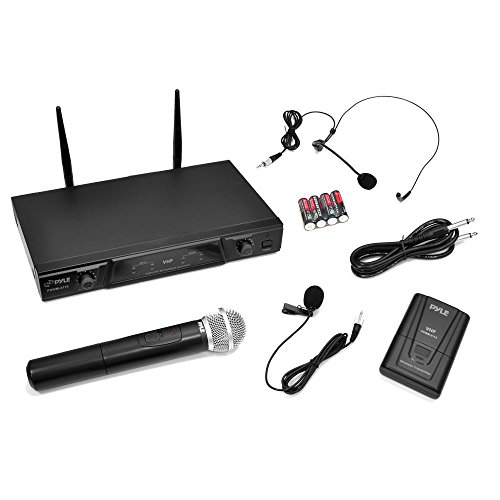 Price comparison product image Pyle Wireless Microphone System with Belt Pack Transmitter,  Handheld,  Lavaliere and Headset Mics
