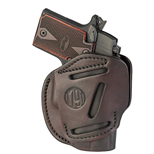 1791 GUNLEATHER 3-Way SIG P238 Holster - OWB CCW Holster Ambidextrous - Right or Left Handed Leather Gun Holster - Fits Sig Sauer P238, P365, Ruger LCP 380, SW Bodyguard (Signature Brown)