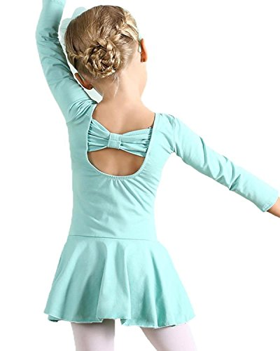 Kids Girls Classic Long Sleeve Dance Ballet Dress Bowknot Design Leotard (C-Light Green, Age for 5-6Y)