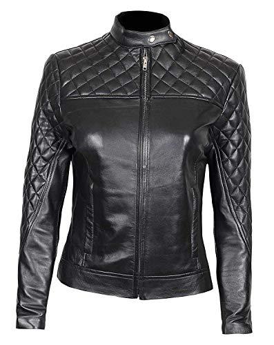 Decrum Black Women's Leather Jacket - Biker Jacket Women | [1300426] Ellen, 2XL