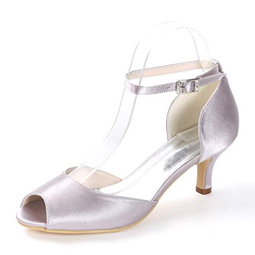 6cm L Peep Estilete Mujer Toe Boda 43 Para Vestido Tacones De yc Tacón Altos Hebilla Gray Noche 35 Zapatos BqrfaB