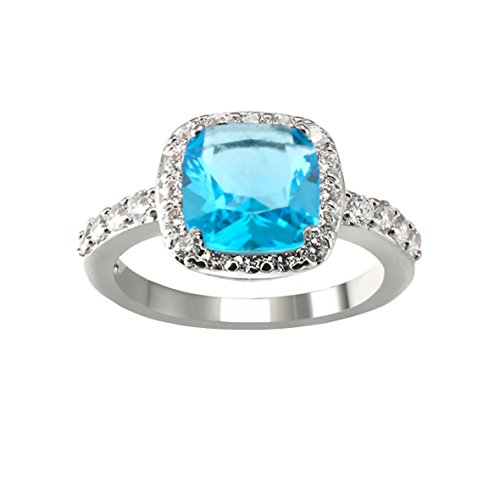 Cocktail Ring Aqua - Impression Collection Square Rings Wedding Party Statement CZ Cocktails Gold Plated Classic Fashion Size 4-12 (Aqua Blue, 6)