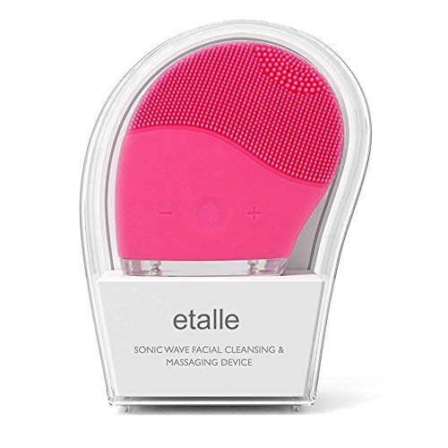 Silicone Face Cleanser and Massager Brush, etalle Sonic Waterproof Rechargeable Facial Cleansing System for Face Cleaning and Polishing