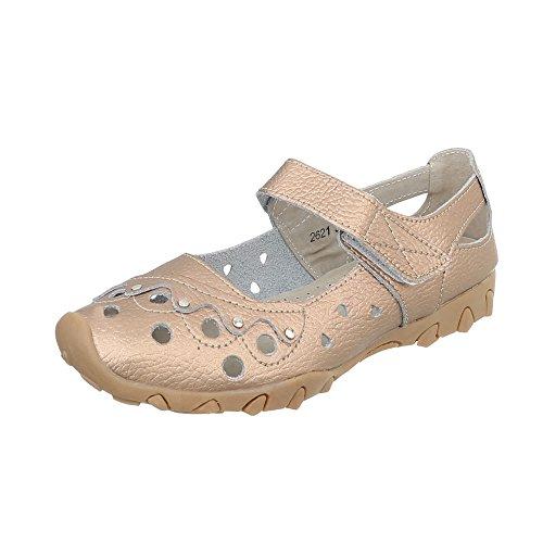 Damen Schuhe Pumps Leder Klettverschluß Gold