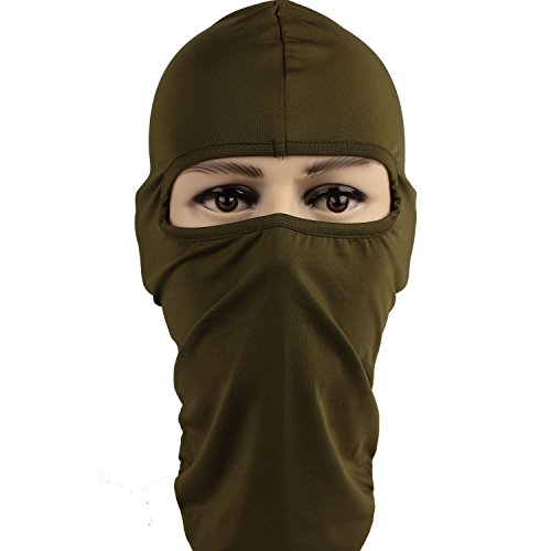 Rioriva Balaclavas CS Hat Winter Headgear Skiing Ear Windproof Face Mask For Motorcycle (Lycra-green) (Ladies Winter Wetsuit)