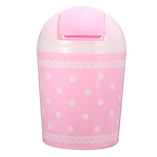 Pink Polka Dot Wastebasket - Mini Lace Polka Dot Trash Rubbish Garbage Can Desktop Paper Wastebasket Bin Organizer With Lid For Home Office (pink)