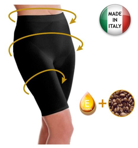 Anti Cellulite Slimming Short Pants with Caffeine microcapsules - Black Size (Best Sealy Anti Cellulite Treatments)
