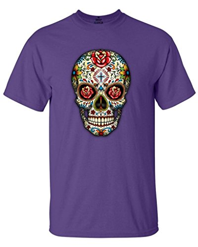 Shop4Ever Sugar Skull Red Roses T-Shirt Day of The Dead Shirts XXX-LargePurple16553 ()