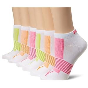 Puma Women's Non-Terry Runner Sock 6-Pack, White, 9-11