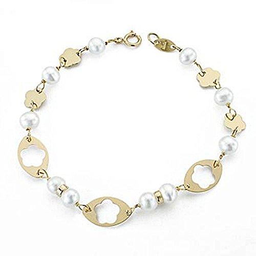18k perle bracelet en or 7mm communion. 17cm. [8999]