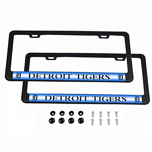 2PCS MLB Lightweight License Plate Frames Black Matte Powder Coated Aluminum - Detroit ()